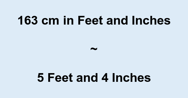 163 Cm In Feet And Inches 163 Cm To And Conversion