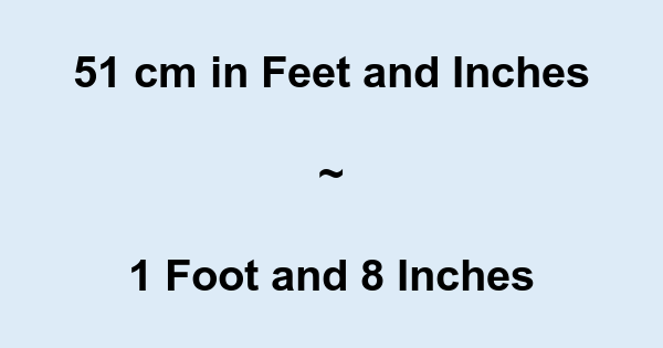 51 Cm In Feet And Inches Converter And Formula Convert 51 inch to foot with formula, common lengths conversion, conversion tables and more. feet to cm