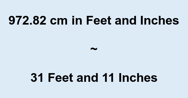 972.82 cm in Feet and Inches