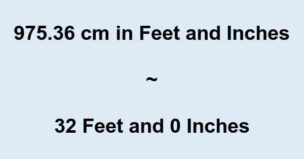 975.36 cm in Feet and Inches