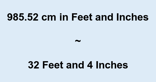 985.52 cm in Feet and Inches