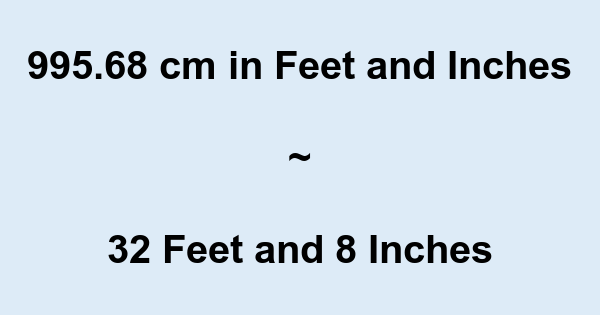 995.68 cm in Feet and Inches