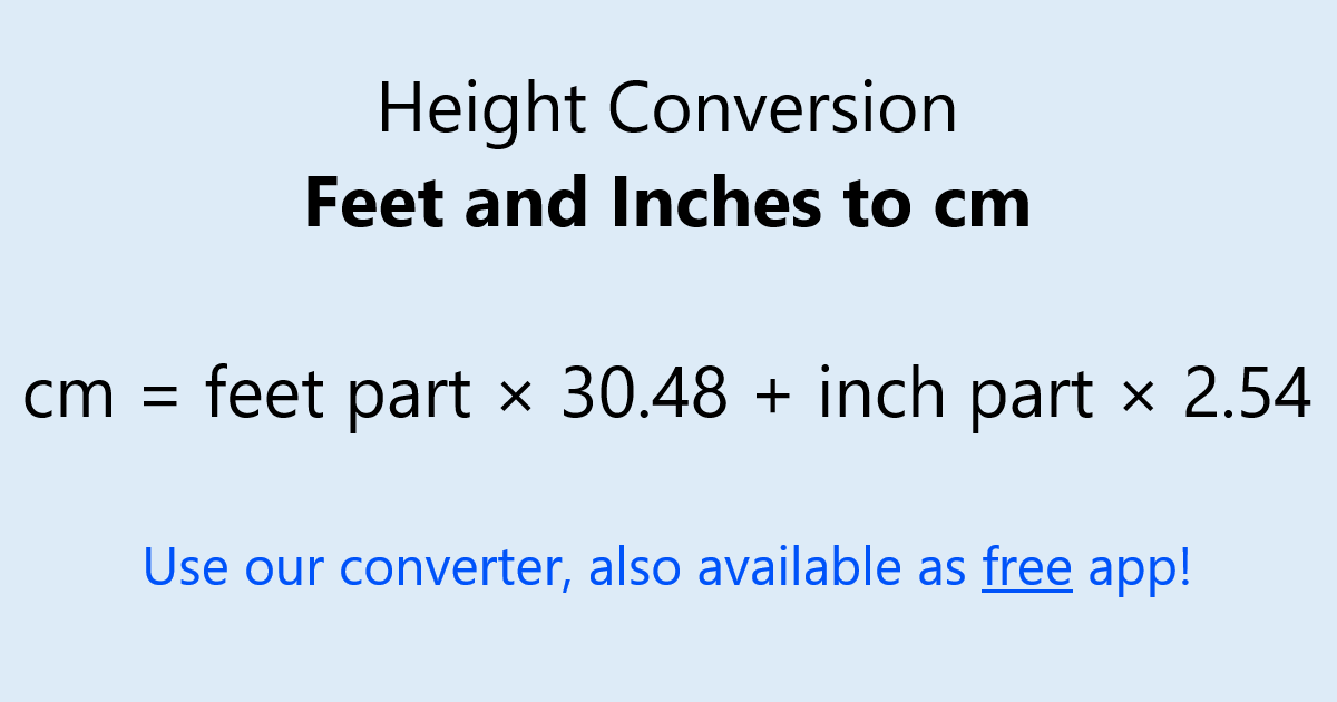 To inches height cm What is