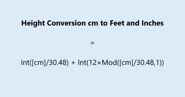 Height Conversion cm to Feet and Inches